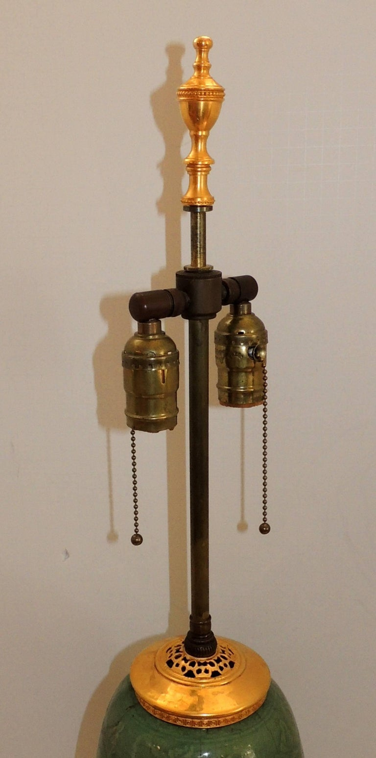 Wonderful Ormolu Gilt Doré Bronze Mounted Green Celadon Glazed Caldwell Lamp For Sale 1