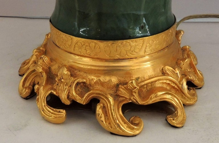 Mid-20th Century Wonderful Ormolu Gilt Doré Bronze Mounted Green Celadon Glazed Caldwell Lamp For Sale