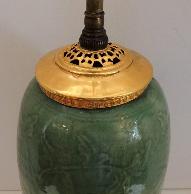 Wonderful Ormolu Gilt Doré Bronze Mounted Green Celadon Glazed Caldwell Lamp In Good Condition For Sale In Roslyn, NY