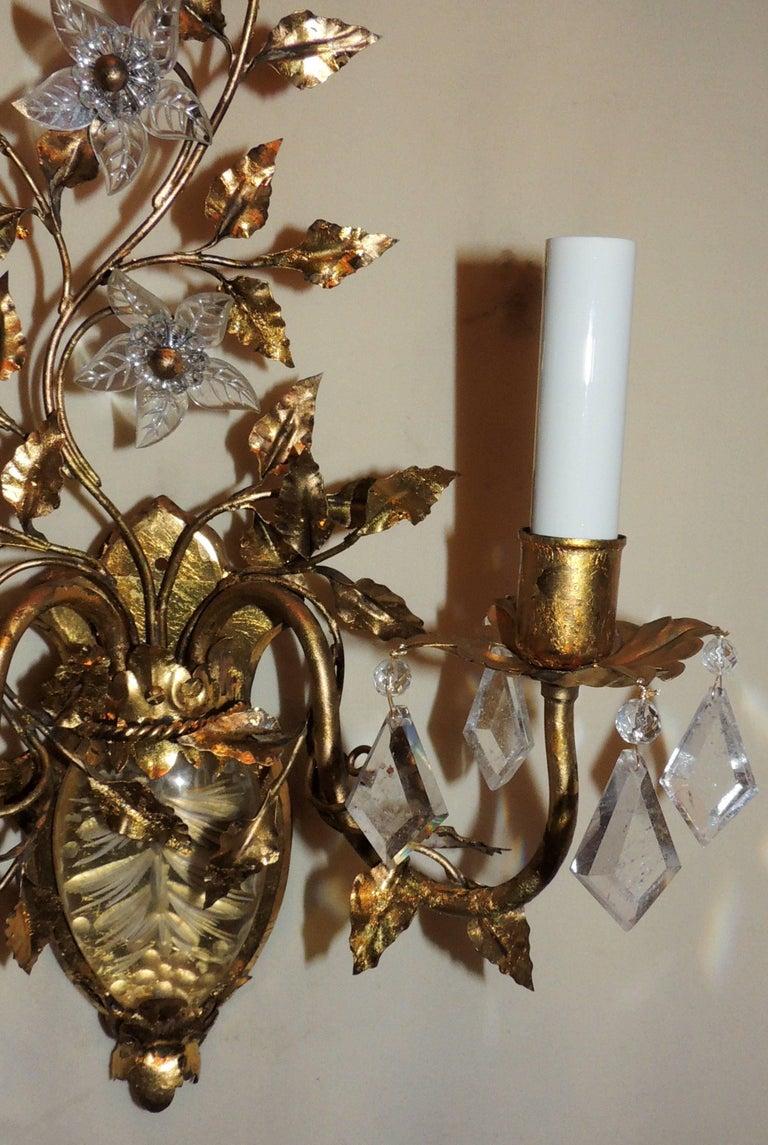 Wonderful Vintage Pair of Etched Rock Floral Filigree Crystal Sconces 6