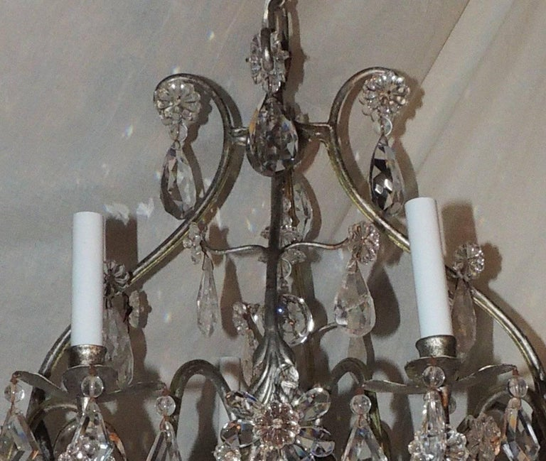 Mid-Century Modern Transitional Silvered Gilt Bagues Eight-Light Rock Crystal Jansen Chandelier For Sale