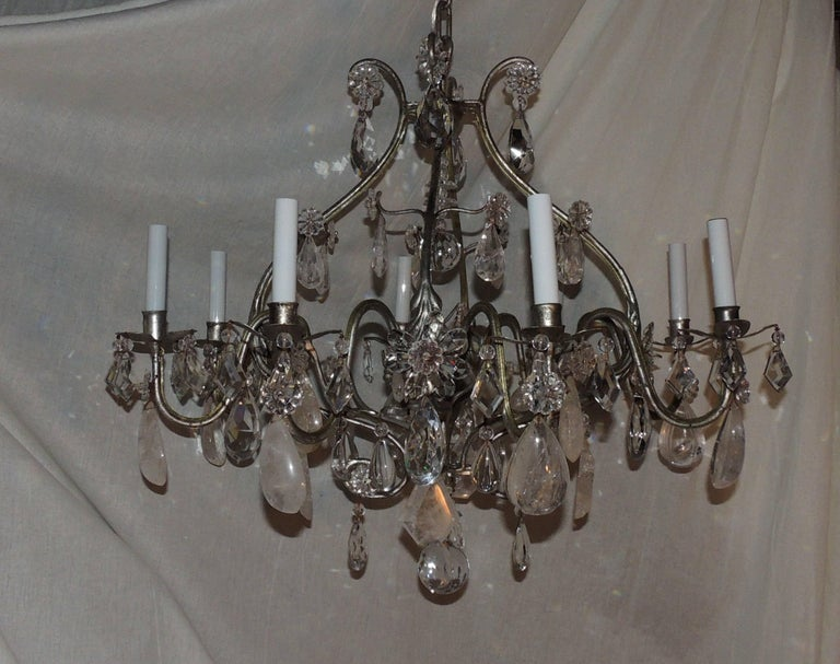 Transitional Silvered Gilt Bagues Eight-Light Rock Crystal Jansen Chandelier For Sale 3