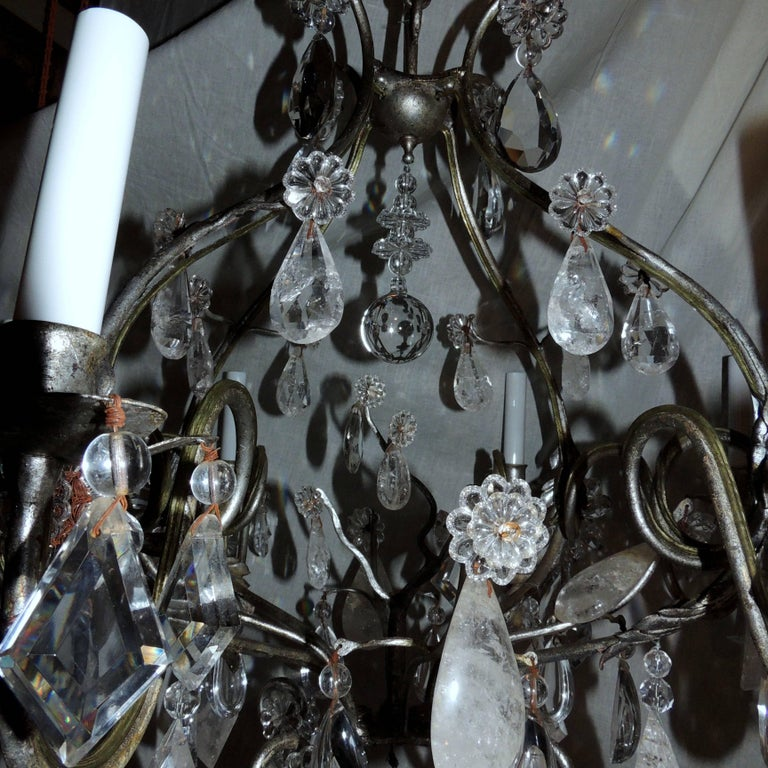 French Transitional Silvered Gilt Bagues Eight-Light Rock Crystal Jansen Chandelier For Sale