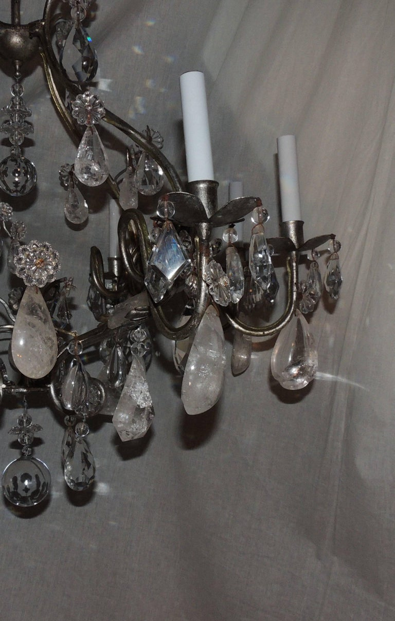 Transitional Silvered Gilt Bagues Eight-Light Rock Crystal Jansen Chandelier In Good Condition For Sale In Roslyn, NY