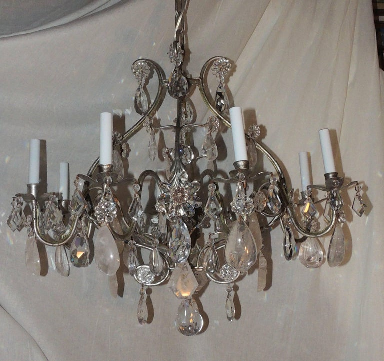Transitional silvered gilt bagues eight-light rock crystal Jansen chandelier fixture