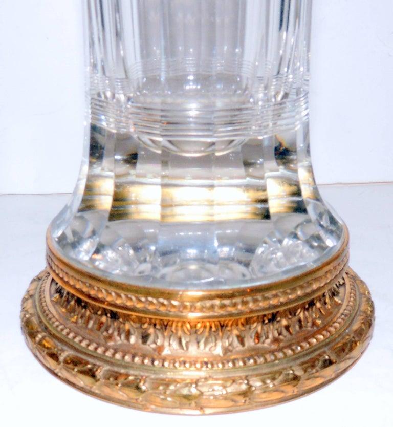 Belle Époque Wonderful Pair of French Gilt Doré Bronze Etched Cut Crystal Glass Ormolu Vases For Sale