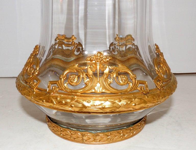Wonderful French ormolu gilt doré bronze-mounted crystal vase glass urn.