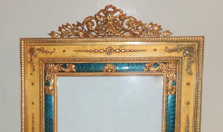 Elegant French Regency Empire Dore Bronze Very Fine Green Enamel