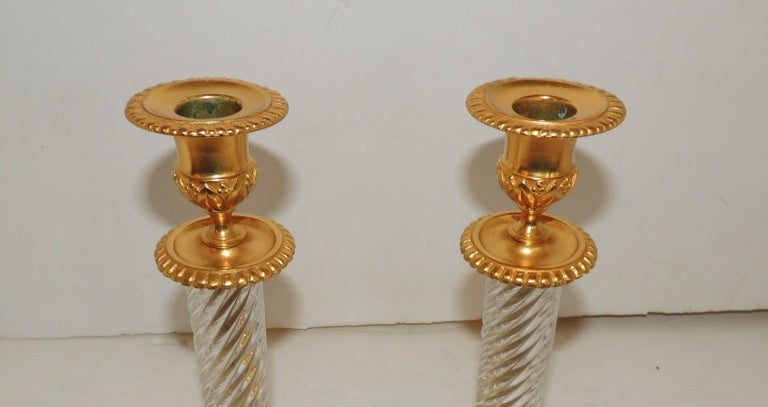 20th Century French Pair of Baccarat Empire Doré Cut Crystal Ormolu-Mounted Candlesticks For Sale