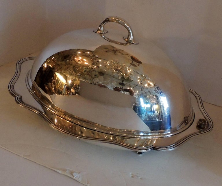Well known Antique Silver Plated Meat Turkey Dome Cover Victorian Cloche  IP31