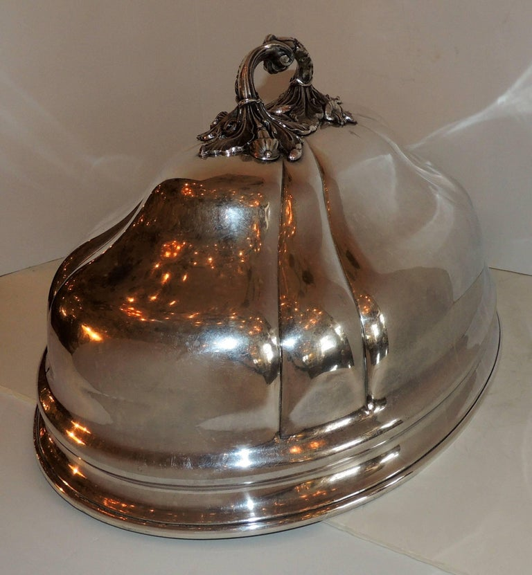 Antique Serving Silver Plated Meat Food Turkey Dome Cover Victorian Cloche Large For Sale 2