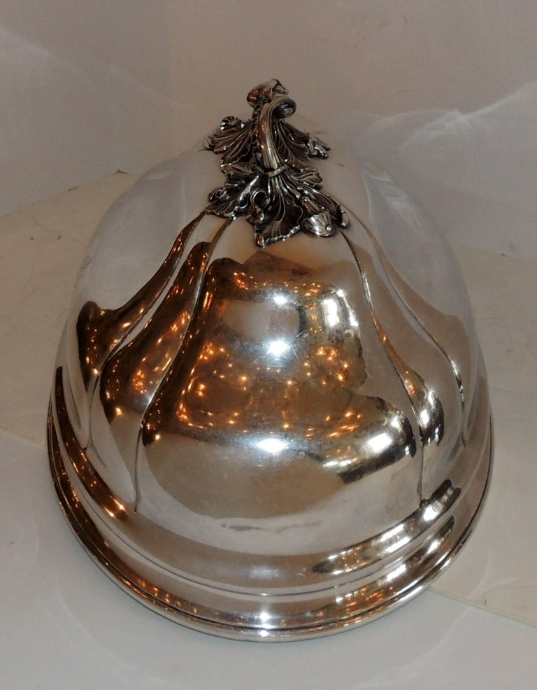 Antique Serving Silver Plated Meat Food Turkey Dome Cover Victorian Cloche Large For Sale 3