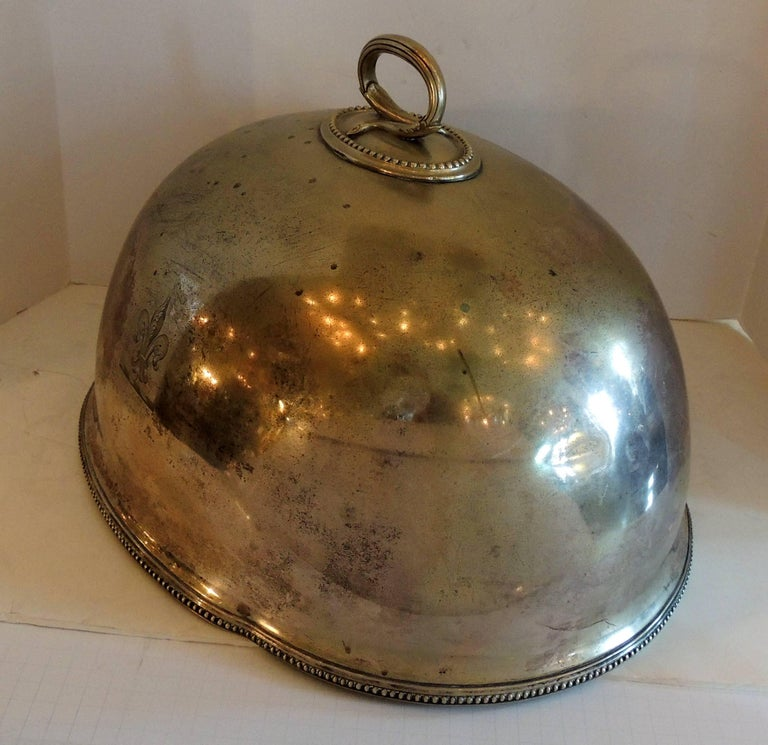Early 20th Century Antique Serving Silver Plated Meat Food Turkey Dome Cover Victorian Cloche Large For Sale