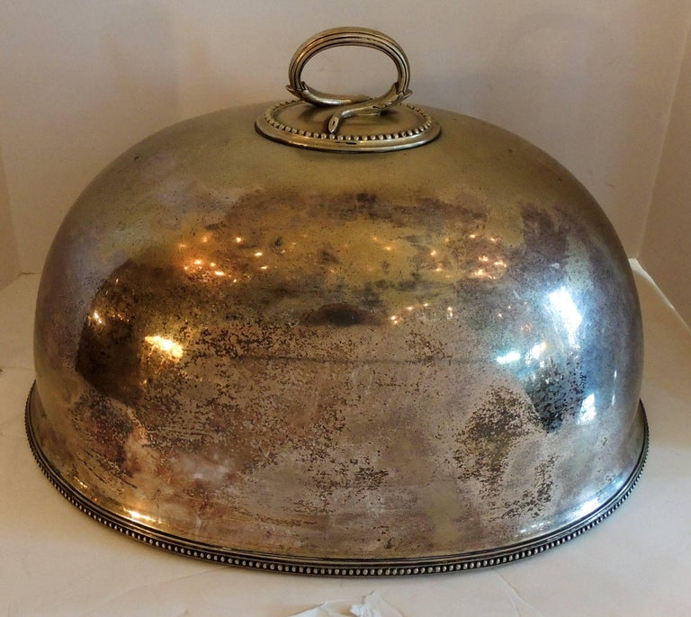 Antique Serving Silver Plated Meat Food Turkey Dome Cover Victorian Cloche Large For Sale 1