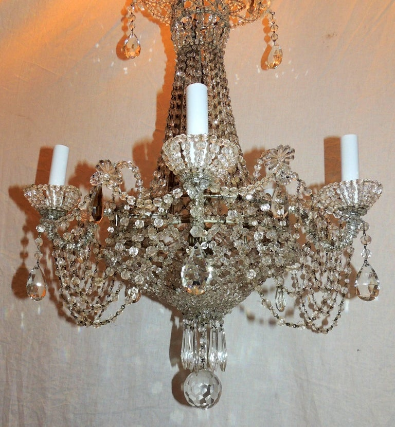 Fine French Beaded Crystal Basket Lattice Cascading Swag Chandelier Fixture For 1