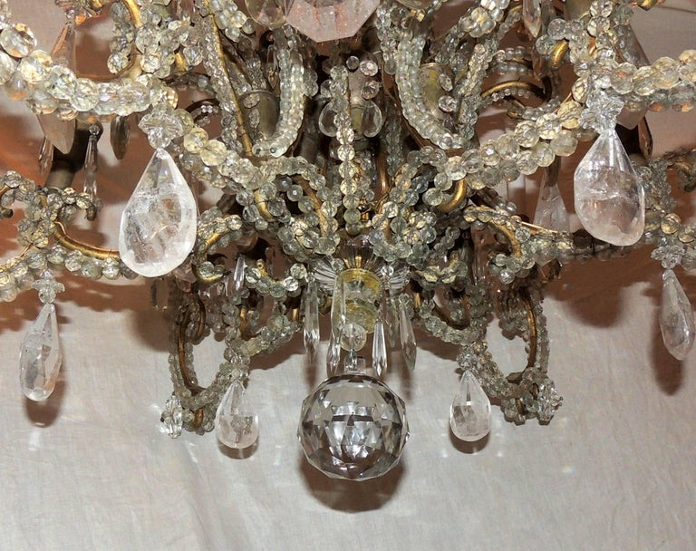 Wonderful Large French Bagues Bronze Beaded Rock Crystal 36 Light Chandelier For Sale 2