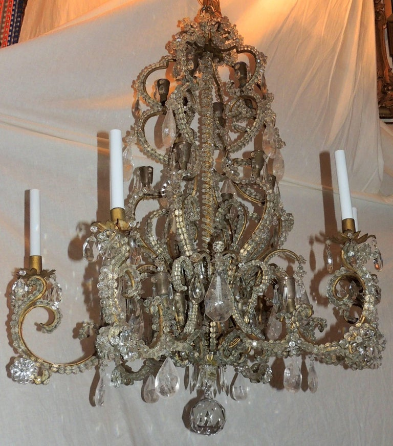 Belle Époque Wonderful Large French Bagues Bronze Beaded Rock Crystal 36 Light Chandelier For Sale