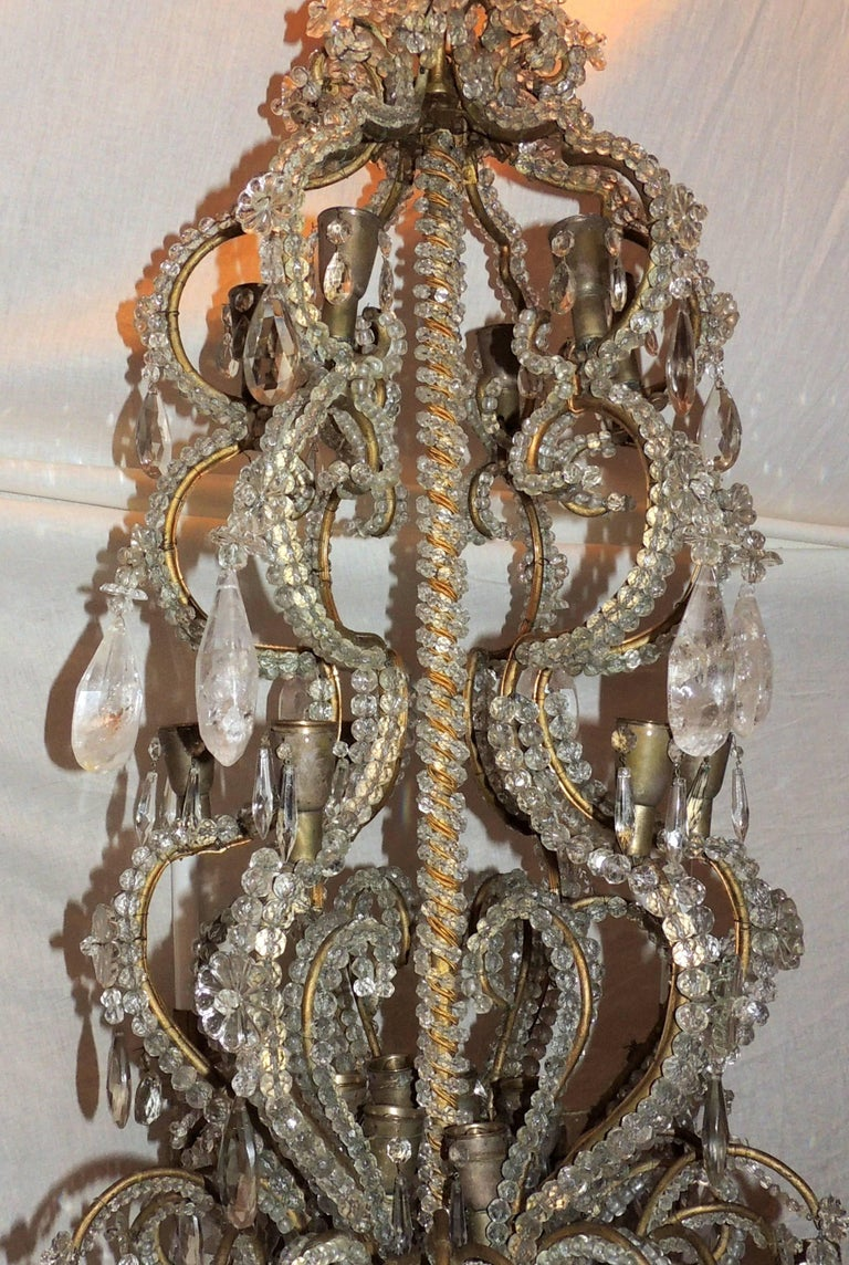 Faceted Wonderful Large French Bagues Bronze Beaded Rock Crystal 36 Light Chandelier For Sale