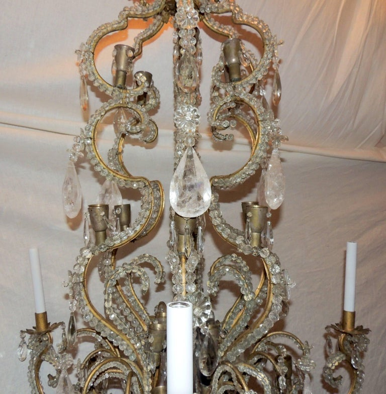 Mid-20th Century Wonderful Large French Bagues Bronze Beaded Rock Crystal 36 Light Chandelier For Sale