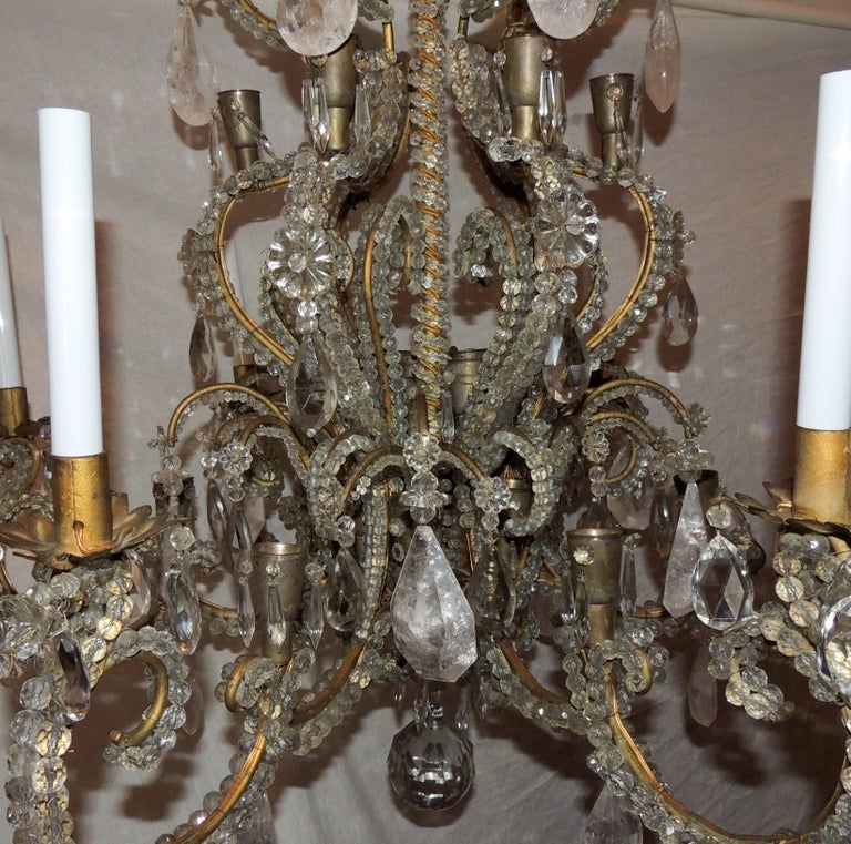Wonderful Large French Bagues Bronze Beaded Rock Crystal 36 Light Chandelier For Sale 1