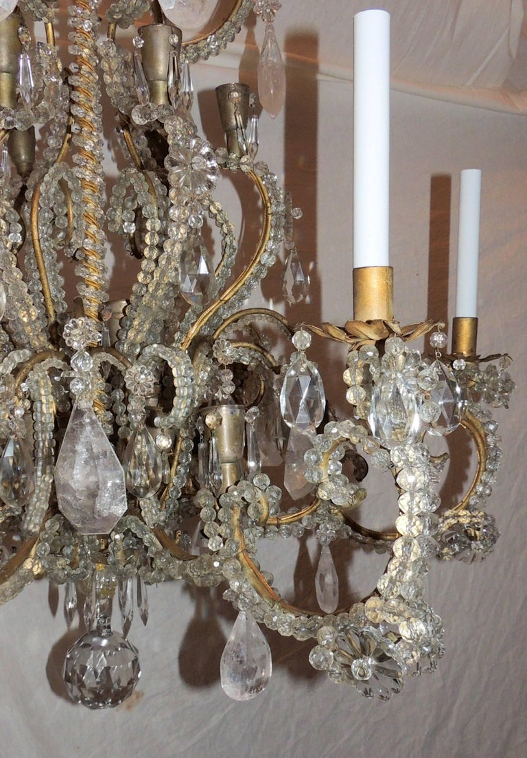 Wonderful Large French Bagues Bronze Beaded Rock Crystal 36 Light Chandelier For Sale 3