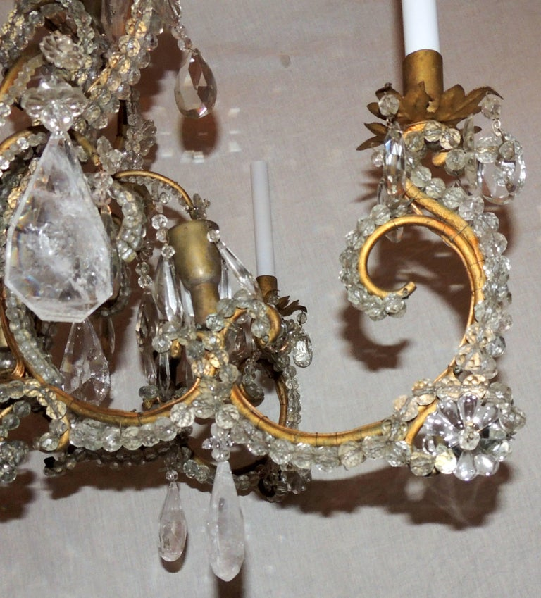 Wonderful Large French Bagues Bronze Beaded Rock Crystal 36 Light Chandelier For Sale 4