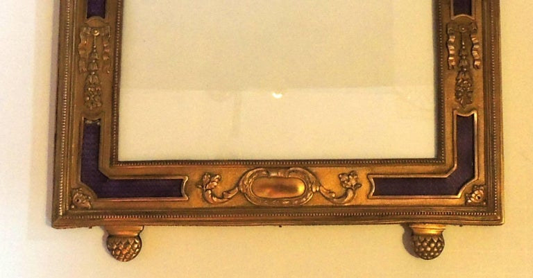 Belle Époque Wonderful French Ormolu Purple Enamel Gilt Bronze Bow Picture Frame Miniature For Sale