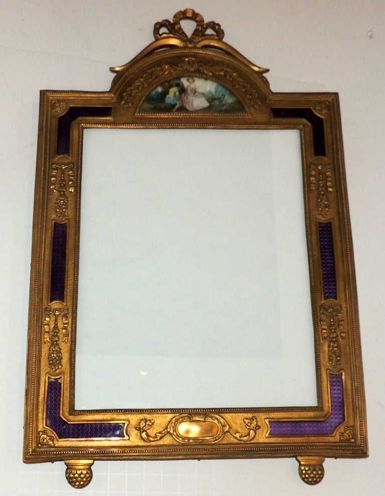 Wonderful French Ormolu Purple Enamel Gilt Bronze Bow Picture Frame Miniature For Sale 1