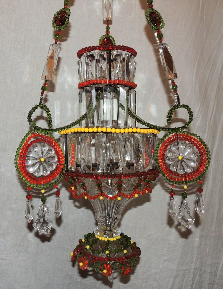 A Wonderful Pair Of Multicolored Beaded And Crystal Pendent Single Light Chandelier Fixture The Height