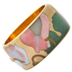 Angela Cummings Tiffany & Co. Carved Stone Inlaid 18-Karat Gold Bracelet Bangle