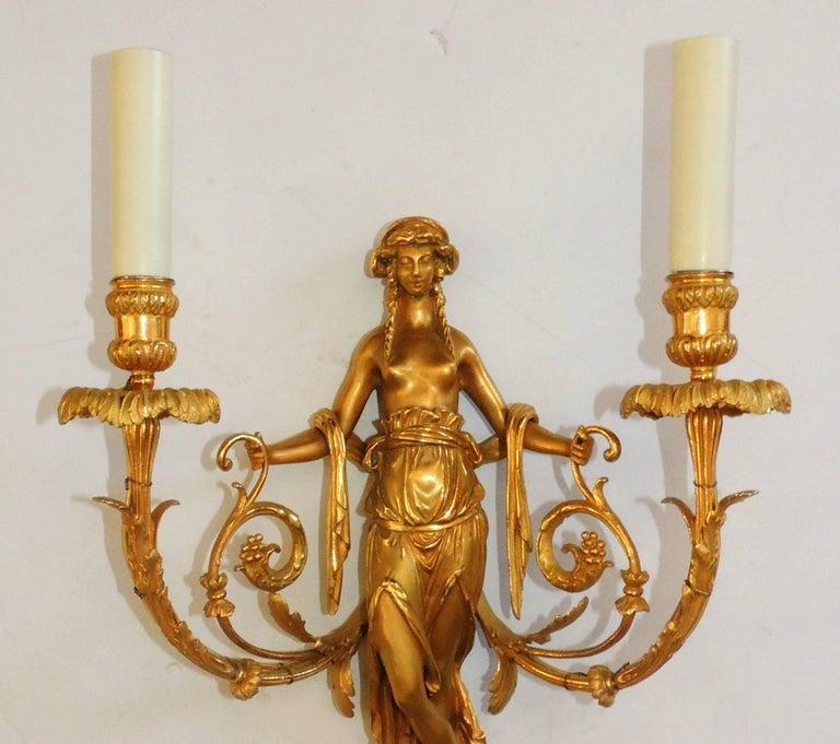 Regency Wonderful Pair of French Doré Bronze Female Maiden Floral Garlands Swag Sconces For Sale