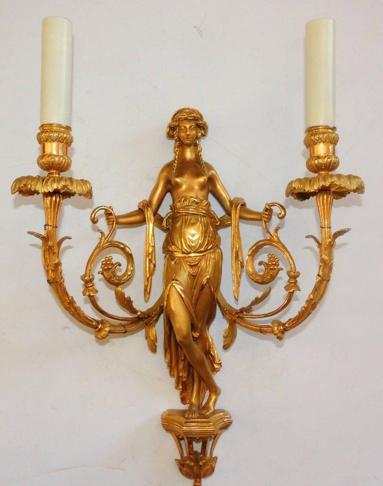Gilt Wonderful Pair of French Doré Bronze Female Maiden Floral Garlands Swag Sconces For Sale