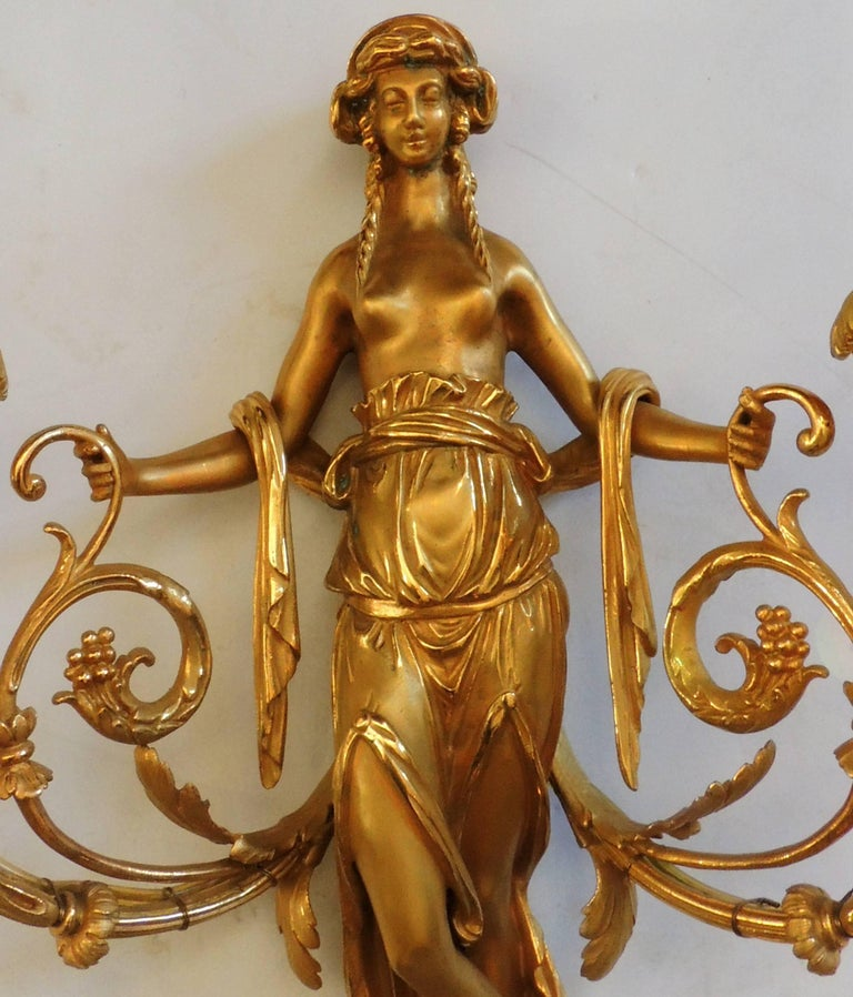 Wonderful Pair of French Doré Bronze Female Maiden Floral Garlands Swag Sconces In Good Condition For Sale In Roslyn, NY