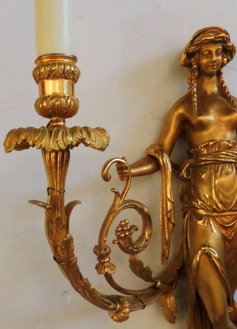 Early 20th Century Wonderful Pair of French Doré Bronze Female Maiden Floral Garlands Swag Sconces For Sale