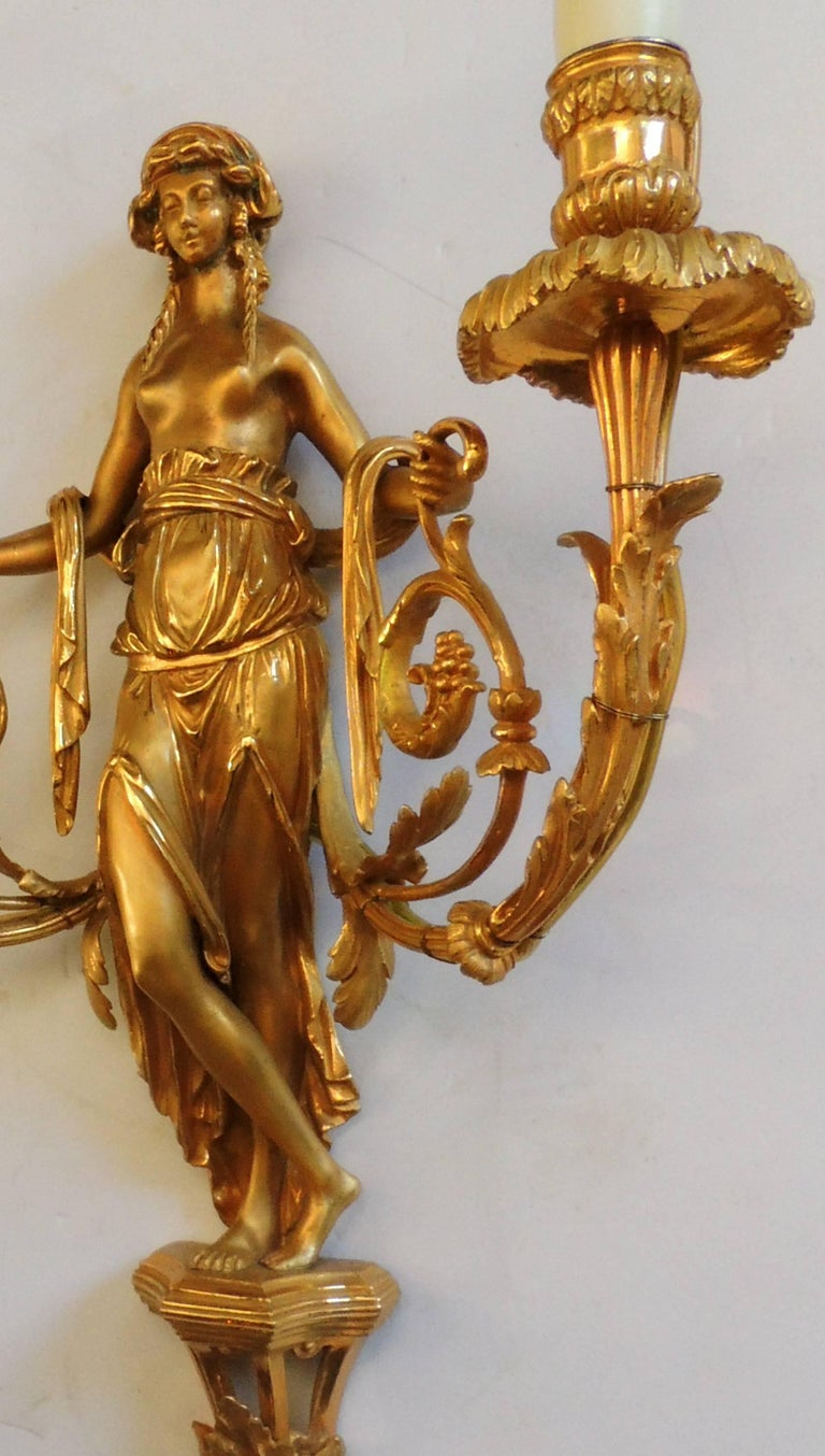 Wonderful Pair of French Doré Bronze Female Maiden Floral Garlands Swag Sconces For Sale 3