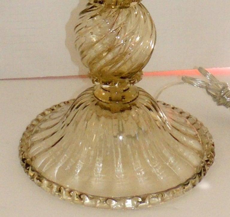Mid-20th Century Mid-Century Modern Pair of Italian Venetian Swirl Murano Glass Deco Lamps For Sale