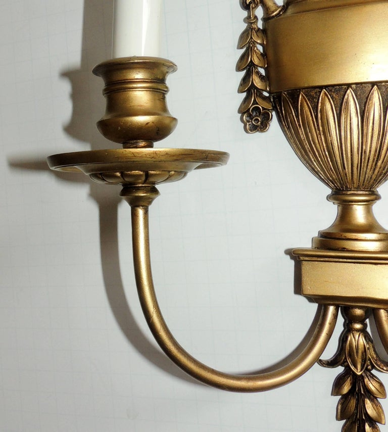 Gilt Wonderful Regency Neoclassical Pair Urn Form Bronze Empire E.F. Caldwell Sconces For Sale