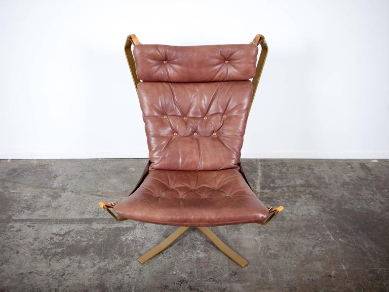 Danish Furniture Maker Made U0027Falconu0027 Style Tall Back Chair With Metal Frame  And Original
