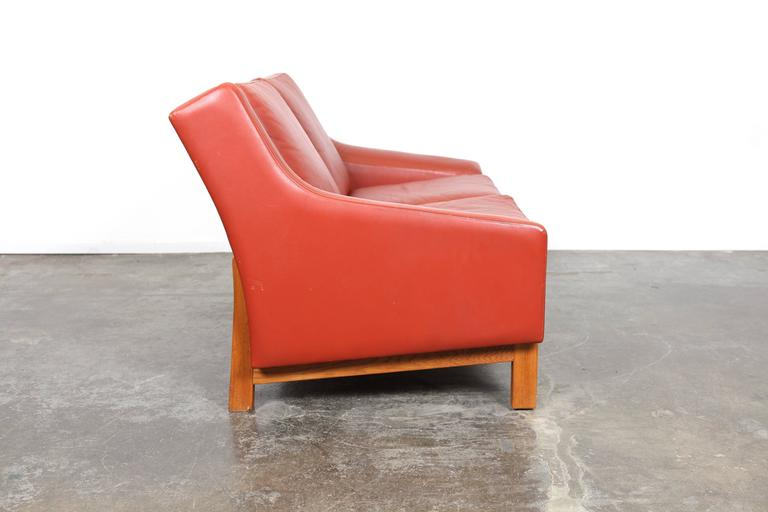 Mid Century Modern Danish Red Leather Loveseat For Sale At 1stdibs