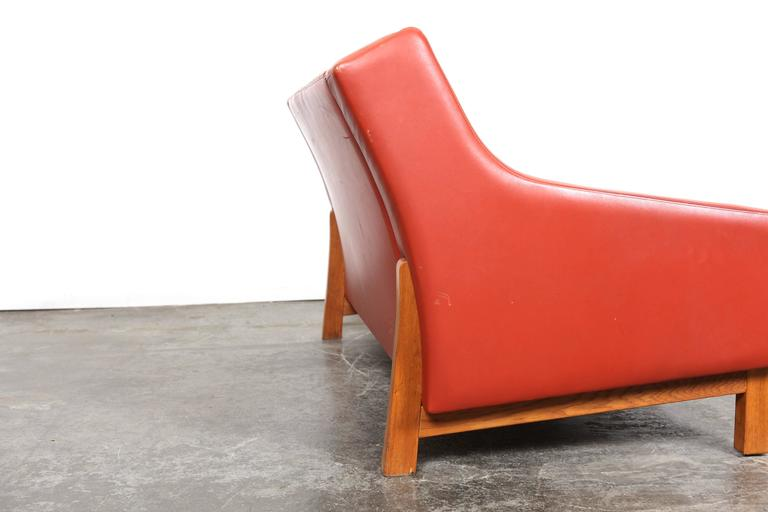 Mid Century Modern Danish Red Leather Loveseat For Sale At