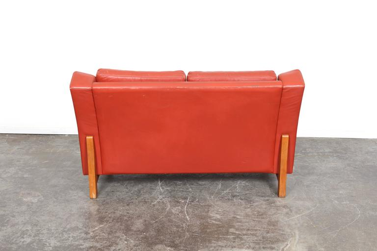 Mid-20th Century Mid-Century Modern Danish Red Leather Loveseat For Sale