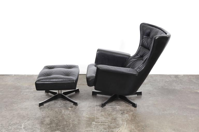 Swedish Mid Century Modern Vintage Black Leather Swivel Lounge Chair With  Ottoman, Designed By
