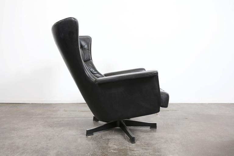 Swedish Mid Century Modern Vintage Black Leather Swivel