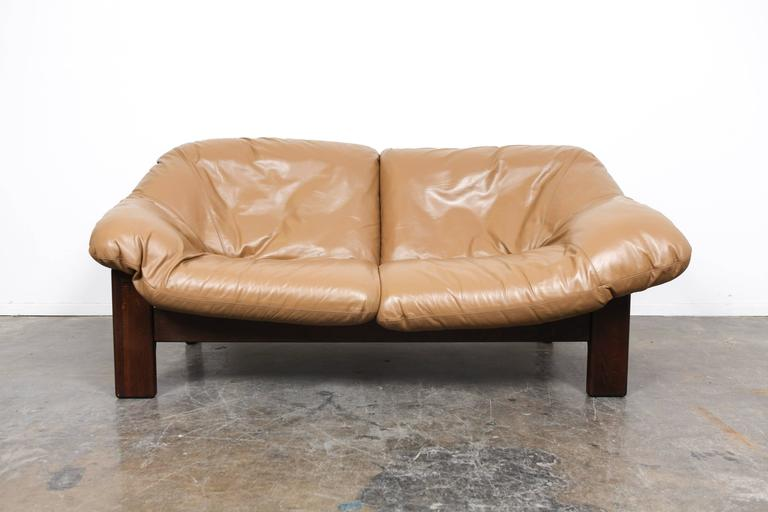 Mid-Century Dutch Cognac Leather Sofa by Gerard Van Den Berg In Good Condition For Sale In North Hollywood, CA
