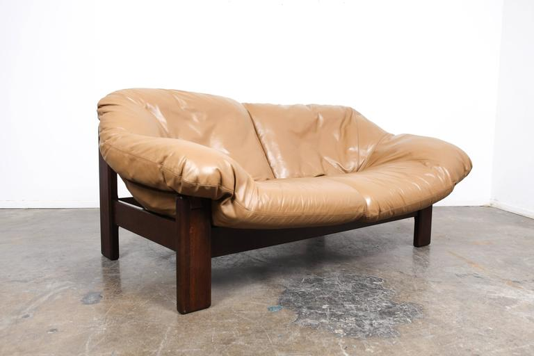Late 20th Century Mid-Century Dutch Cognac Leather Sofa by Gerard Van Den Berg For Sale