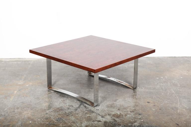 5506ba6efb60 Danish Mid-Century Modern square rosewood coffee table with flat bar metal  chrome legs