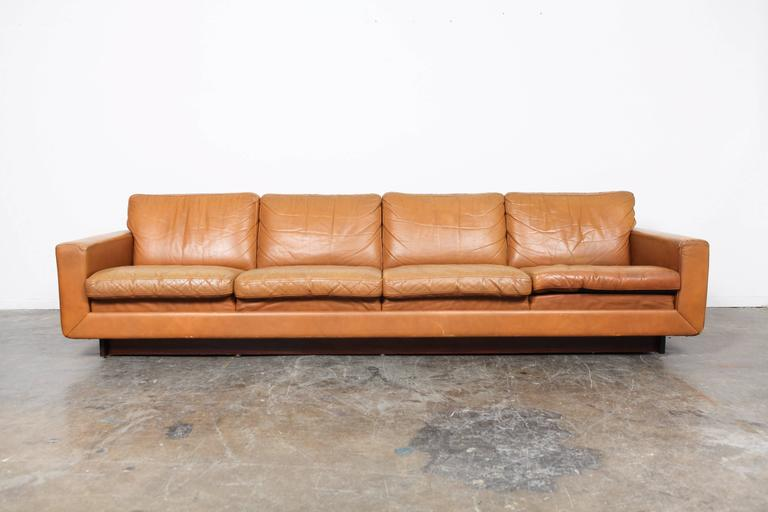 Danish Mid-Century Modern Low Leather Four-Seat Sofa at 1stdibs