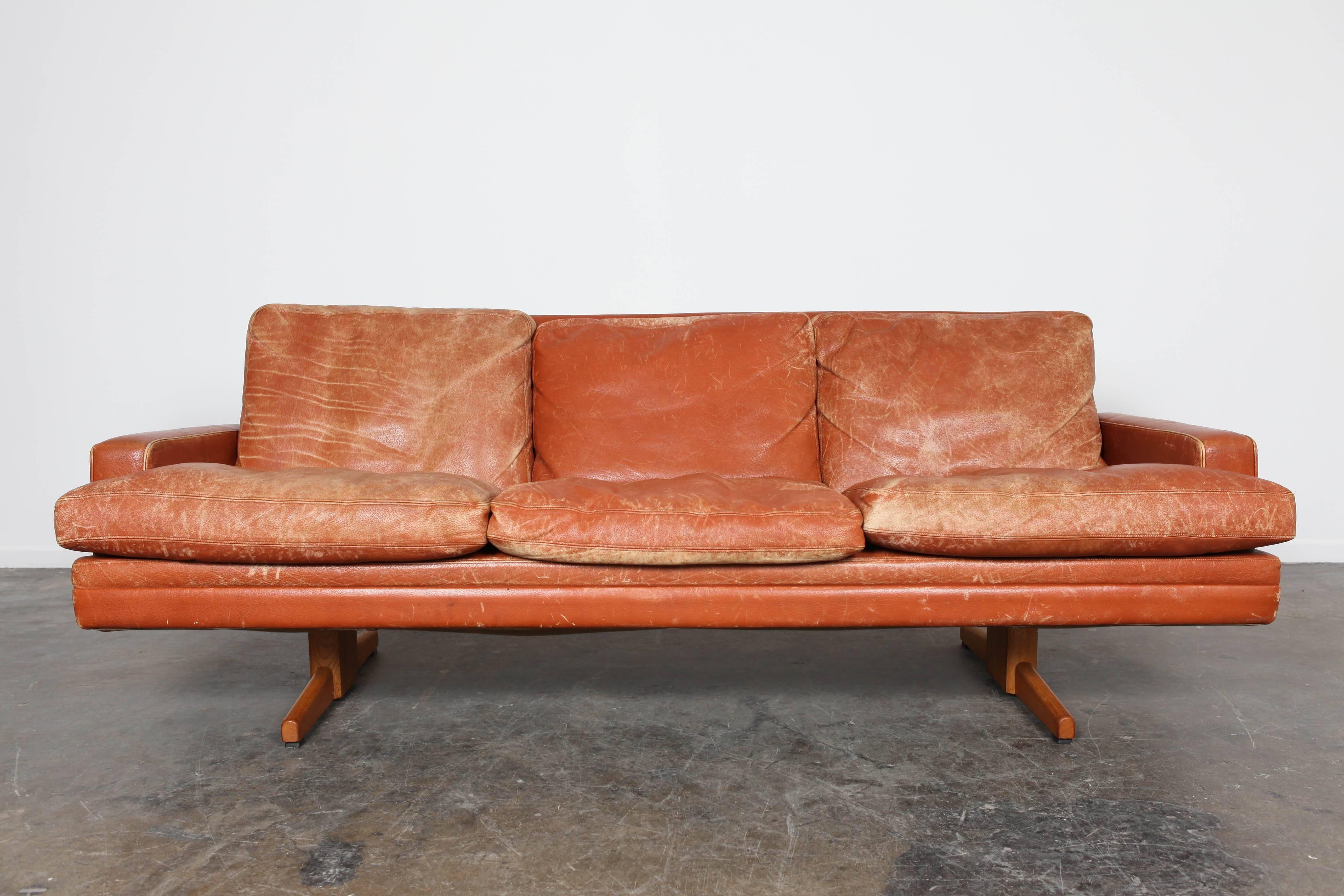 Norwegian Mid Century Modern Burnt Orange Leather Sofa By Fredrik Kayser 2