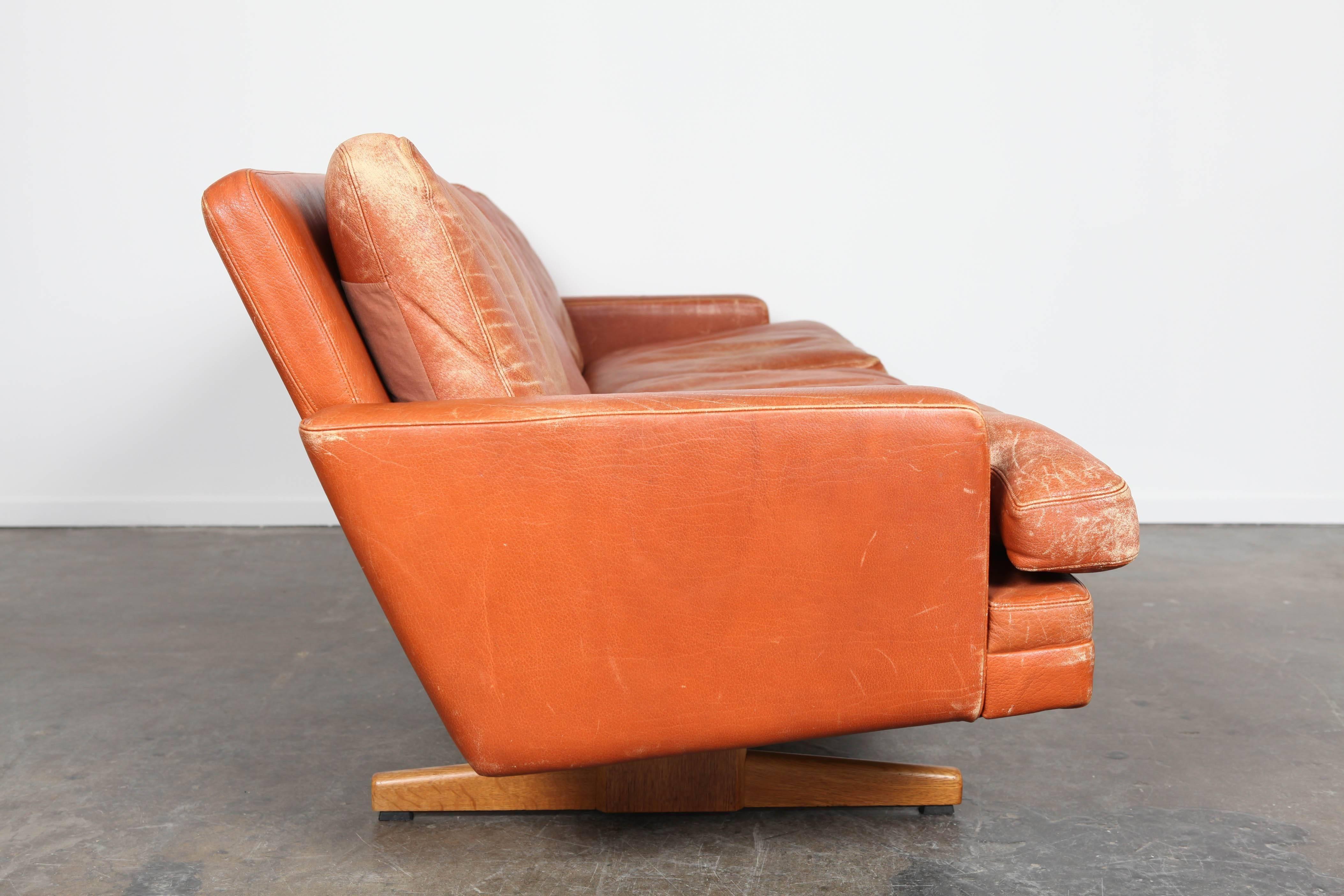 Mid 20th Century Norwegian Mid Century Modern Burnt Orange Leather Sofa By  Fredrik
