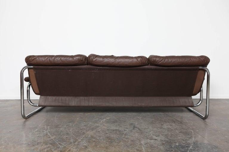 Three-Seat Brown Leather Tufted Sofa on Chrome Frame by Johann Bertil  Häggström